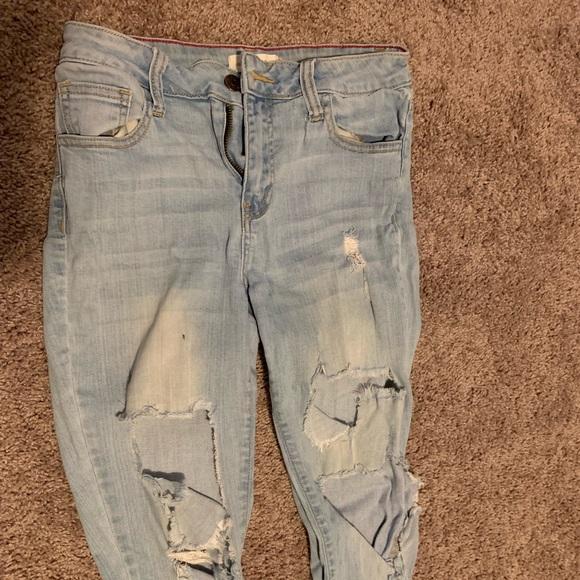 Cello Denim - Light wash distressed jeans